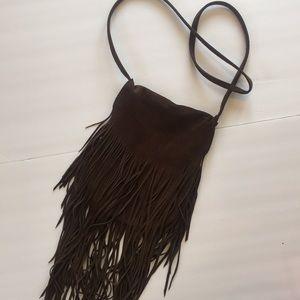 Handbags - Brown Suede Fringe Shoulder Bag